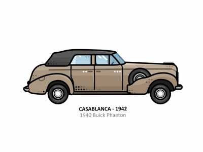 Casablanca 1942 vehicle vector steel speed 1940 buick phaeton outline movies movie line illustrator iconic icon film engine dots design car american action