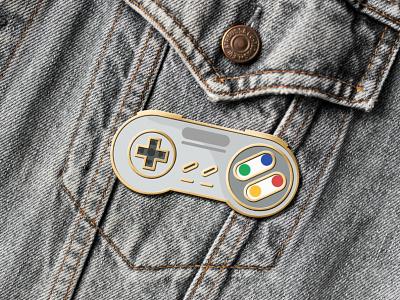 Super Nintendo Pin joystick controller pin mocup videogame super nintendo retro outline nintendo switch nintendo nes mini snes love icon set icons gameboy game fun consoles