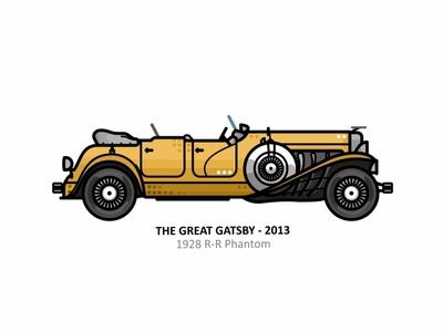 The Great Gatsby 1928 r-r phantom 1928 r-r phantom auto sport vehicle vector steel speed outline movie line illustration iconic icon film engine dots design car