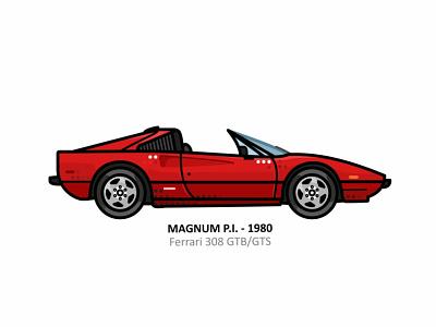 Magnum P.I. auto sport vehicle vector steel speed outline movie line illustration iconic icon film engine dots design car action