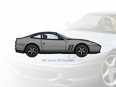 Ferrari 550 ferrari 550 car app auto sport vehicle vector steel speed outline movie line illustration iconic icon film engine dots design car action