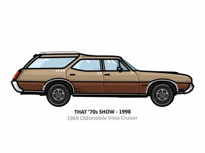 That '70s Show car app auto sport vehicle vector speed outline movie line illustration iconic film engine dots design car vintage that70sshow 70s
