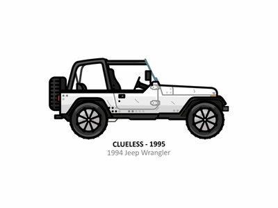 Clueless jeep car app auto sport vehicle vector steel speed outline movie line illustration iconic icon film engine dots design car