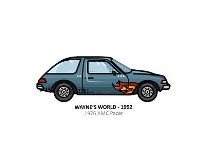 Wayne's World car car app auto sport vehicle vector steel speed outline movie line illustration iconic icon film engine dots design car action