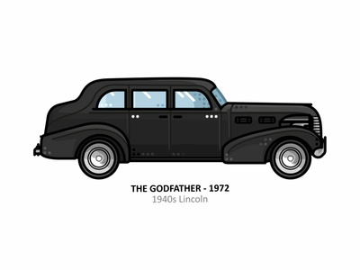 The Godfather car car app auto sport vehicle vector steel speed outline movie line illustration iconic icon film engine dots design car action