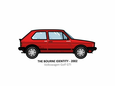 The Bourne Identity car golf auto sport vehicle vector speed outline movie line illustration iconic icon film engine dots design car action
