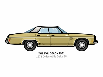 The Evil Dead car auto sport vehicle vector steel speed outline movie line illustration iconic icon film engine dots design car action