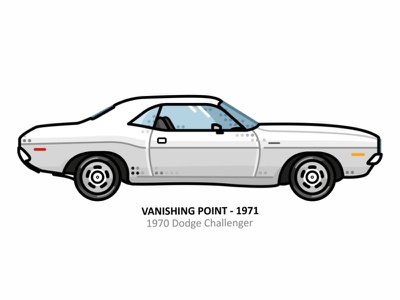 Vanishing Point car auto sport vehicle vector steel speed outline movie line illustration iconic icon film engine dots design car action