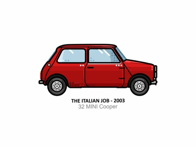 The Italian Job car auto sport vehicle vector steel speed outline movie line illustration iconic icon film engine dots design car action