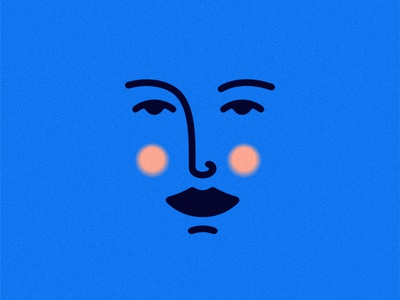 Lovely face love branding logo girl design profile avatar texture flat outline simple minimal character head eyes face smiley cute woman
