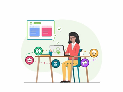 Work at home user technology team sketch school peoples parents education desk design data connection coworking collaboration chat people business app 2d