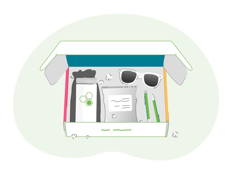 Eleyo Swagbox vector shapes packaging package minimal logo illustrator graphicdesign flat design branding art app community box packing swag swag box