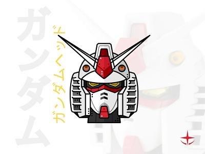 Gundam Head future modern hero head outline mobile suit line art branding vector syfy manga character design illustration japan mecha sacred robot
