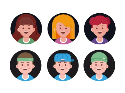 Avatar exploration colorful cute faces character design people branding head woman vector social member man illustration flat face avatar account
