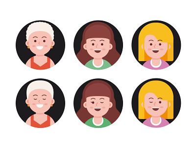 Avatar exploration woman vector social people member man illustration head flat faces face cute colorful design character branding avatar account