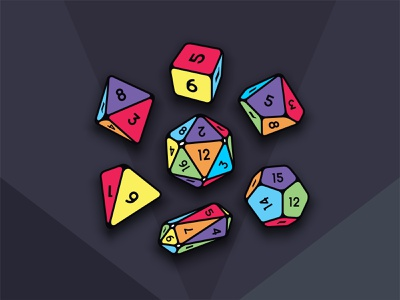 DND dices gaming sorcerer potion magic colours colorful shape vector illustration design icon set icon dungeons and dragons nerd games dice dnd
