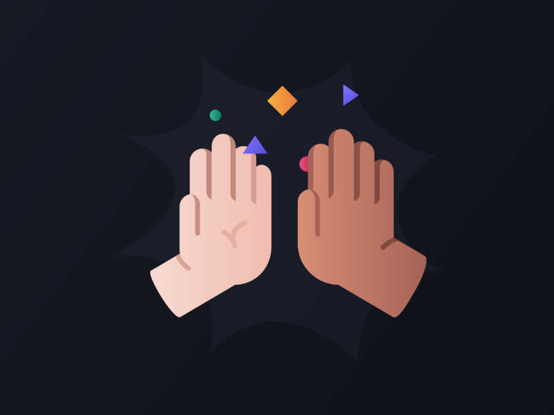 High Five collaboration colab business co workers friends icon minimal clap art vector hands hand gif animation gif celebrate support illustration high five