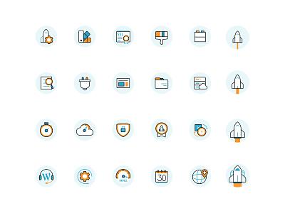 Rocket Icons branding design illustration website servers files price word press plugin iconography theme fast rocket cloud speed calendar icon set icons