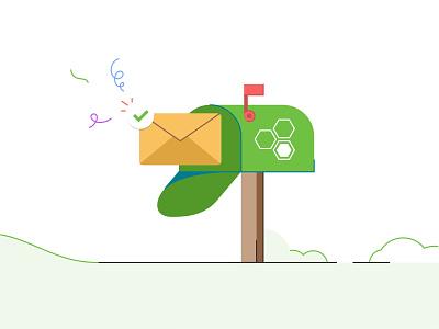Eleyo Mailbox branding invite email icon marketing box company alert web ui ux mobile message mail box mail illustration design card app