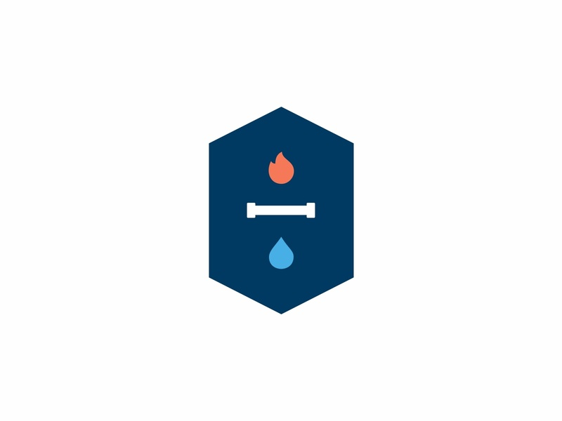 Logo mark symbol identity pipe plumbing icons icon logotype elements water and fire shapes water fire branding design mark logo minimal