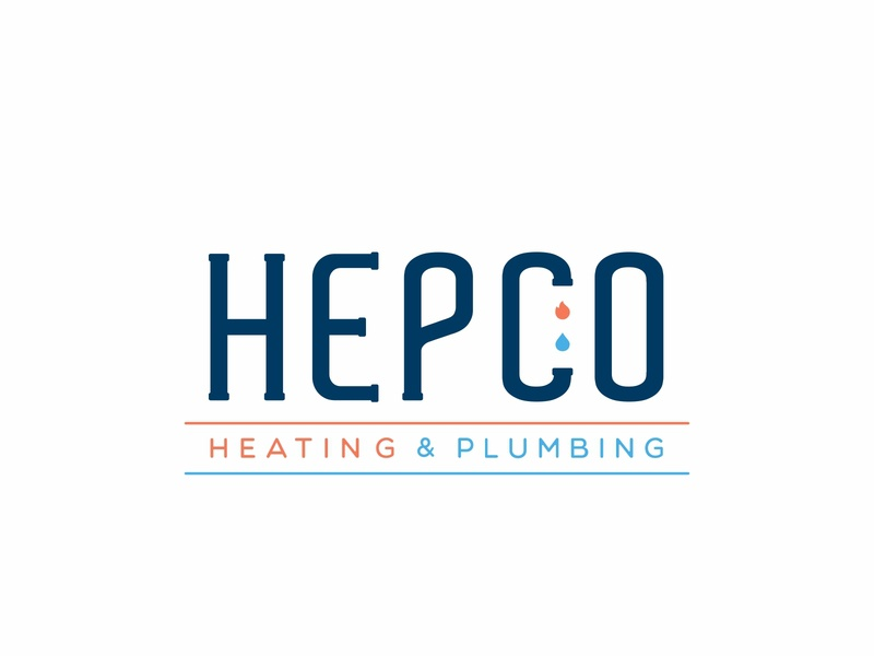 Hepco logo typography font typo water and fire water symbol shapes plumbing pipe minimal mark logotype logo identity icons icon fire elements design branding