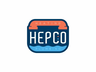 Hepco water and fire water typography typo symbol shapes plumbing pipe minimal mark logotype logo identity icons icon font fire elements design branding