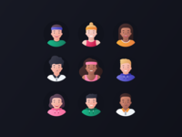 Fitmind Avatars website web profile portrait expression team man woman product characters icon set vector people illustrations head diversity design colorful avatars