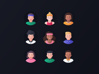 Arete Avatars website web profile portrait expression team man woman product characters icon set vector people illustrations head diversity design colorful avatars