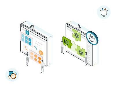 Whitelabel & Plugin Development website inteface user uiux technology static servers mobile message isometric art isometric dynamic design data transver code branding automation app