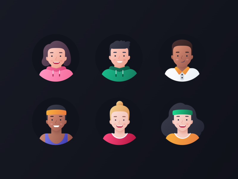 Fitmind Avatars woman website web vector team profile product portrait people man illustrations icon set head expression diversity design colorful characters avatars