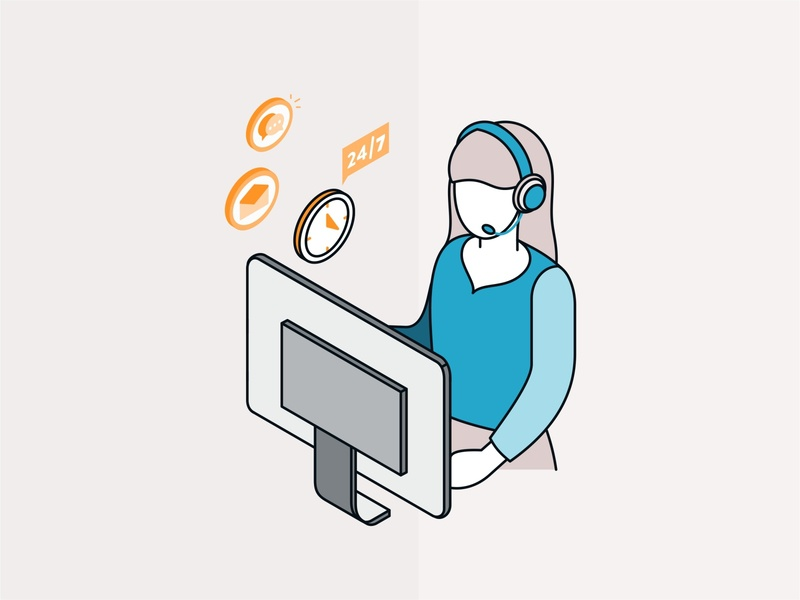 Support conversation service provider phone operator customer call center call design isometric vector teamwork team support partnership woman illustration friendly flat character