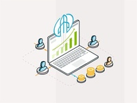 Affiliates team partnership service money connection data statistic rocket web laptop technology user vector design company sales marketing isometric