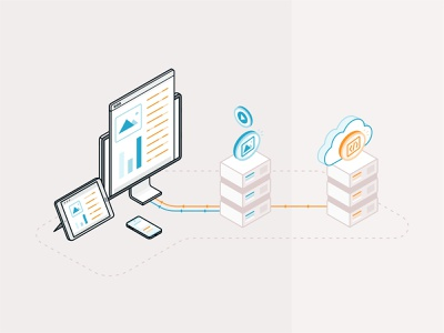 Static vs Dynamic Delivery styleguide isometric web page data transver image code technology cloud design