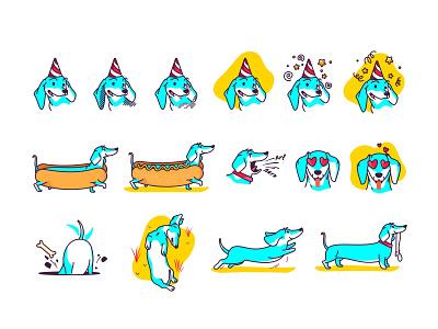 Dachshund wiener vector sticker pet mascot illustration icon set icon hotdog dog design dachshund cute creative character cartoon branding animal