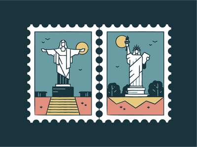 Christ the Redeemer &  Statue of Liberty usd brazil iconography graphic post card monuments world wonder travel tourism icon set landmark icons iconography badge architecture