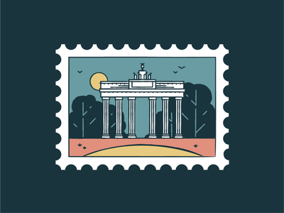Brandenburg Gate german berlin germany gate symbol world wonder travel tourism card post monuments landmark icon set icons graphic iconography badge architecture