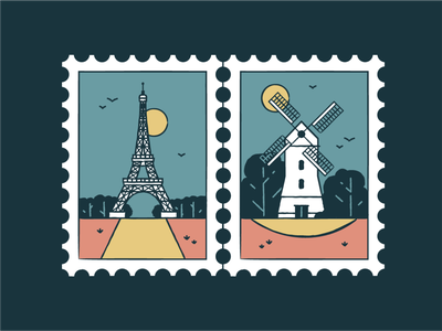 Eiffel Tower & Windmills france windmills wonder travel tourism symbol post monuments landmark icon set icons iconography graphic card badge architecture