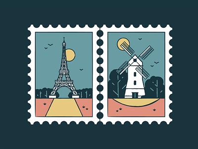 Eiffel Tower & Windmills france windmills wonder travel tourism symbol post monuments landmark icon set icons iconography graphic card badge architecture