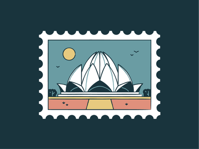 Lotus Temple lotus temple world wonder travel tourism symbol sunset post monuments landmark icon set icons iconography graphic card badge architecture buildings