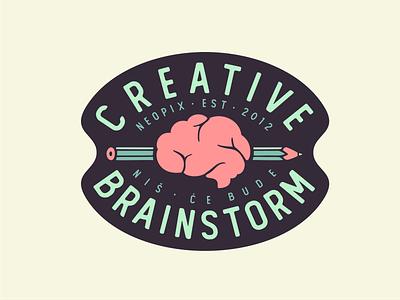 Creative Brainstorm ✏️🧠 sticker brain branding patch design creative pen font logo badge typo creative brainstorm sticker mule playoff keychains jewelry contest charms