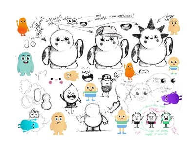 Character sketch game art emoji avatar monster cute vector 2d create smile face illustration sketch drawing draw art concept design character cartoons cartooning