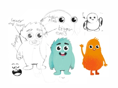 Characters sketch game art emoji avatar monster cute vector 2d create smile face illustration sketch drawing draw art concept design character cartoons cartooning