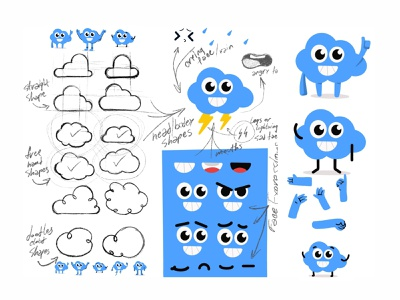 Cloud sketch game art emoji avatar cute vector 2d create smile face illustration sketch drawing draw art concept design character cartoons cartooning