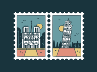 Notre Dame & Tower of Pisa world wonder travel tourism symbol sunset monuments landmark icon set iconography icon buildings badge architecture