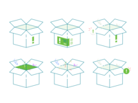 Box order empty state error unpack unboxing container branding packaging icon set vector parcel mail illustration icon flat design delivery daily cardboard box