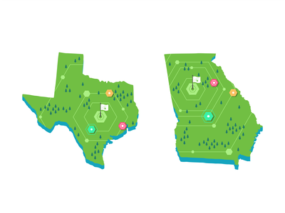 Texas & Georgia map user ui ux symbol store roadmap navigation mobile maping map locations location ios illustration icon set iconography events branding