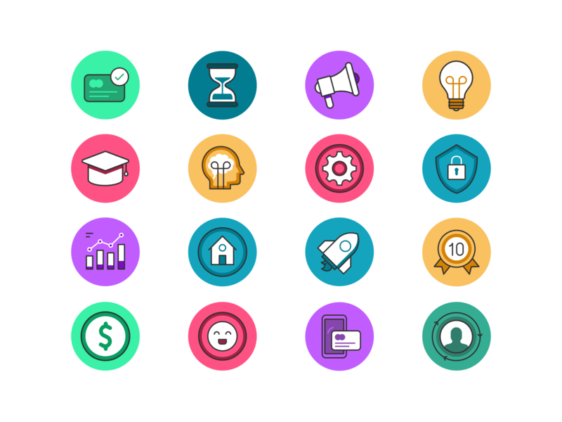 Eleyo Icon set website user ui ux symbol design smart settings security payment mobile logo ios illustration icon set iconography icon card branding badge