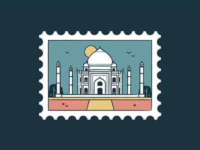 Taj Mahal stamp postmark architecture world tourism icon travelling travel branding design temple taj mahal monument landmark india cityscape city building agra