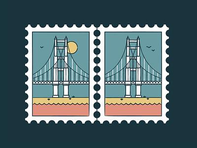 Golden Gate Bridge golden gate symbol landmark world travelling travel postmark monument building city architecture branding illustration logo. san francisco icon sun stamp