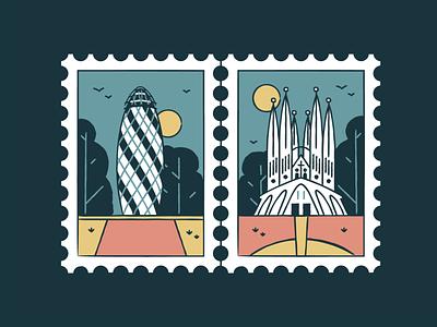 The Gherkin & La Sagrada Familia vector turist travel symbol sun stamp landmark illustration icon set design city building branding architecture